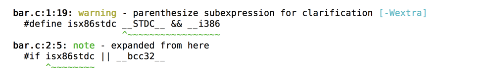 range highlighting on sub-expression from macro expansion